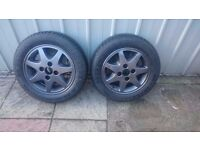 2 x 185/60/14 TYRES WITH ALLOY WHEELS