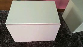 3 x Ikea besta cabinets with pink doors