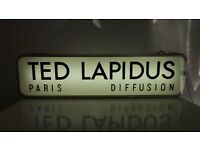 """Vtg Retro French TED LAPIDUS """"Diffusion Homme Paris"""" Double Sided Neon Light Shop Display Sign Large"""
