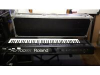 Roland RD700GX keyboard with sustain pedal and owner's manual