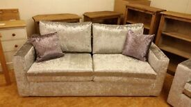 3 & 2 SEATER CRUSHED VELVET SILVER DELIVERY AVALIABLE