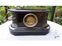 ORNATE OBLONG BELGIUM SLATE BELL RINGING MANTLE CLOCK, WITH FINELY DEPICTED BRON