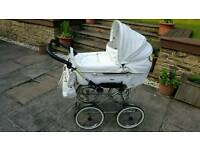 Emmaljunga white leatherette pram and pushchair for sale