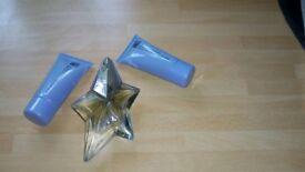 Angel 25 ml refillable eau de parfum also 30 ml body lotion and shower gel