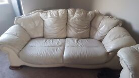 3 seater leather sofa and 2 matching arm chairs