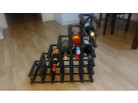 Wood and metal wine rack for 21 bottles