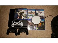 Ps4 console with 3 controllers and 6 games