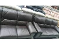 Ex display real leather brown 3+3 seater sofa