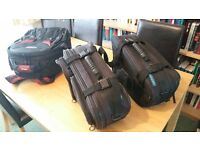 Oxford Motorcycle soft luggage panniers with Vanguard suitcase.