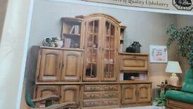 Karen Mintjens Traditional Oak Wall Cabinets set comprising glass fronted display unit & drawers