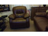 Leather Sofa + 2 Electric recliner Chair