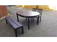 Ikea BJURSTA Round Extending Table 155/166cm 2 Chairs & 1 Bench FREE DELIVERY (03131)