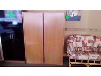 GOOD CONDITION!! 2 door STAG pine wardrobe, with built in rail