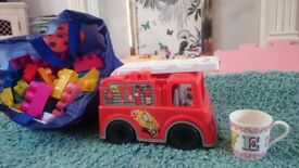Mega bloks and mega fire engine , mega blocks
