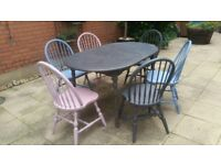 Solid hardwood extendable table and 6 chairs - refurbished