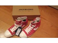 BNIB Mens Jack & Jones Red Trainers / Baseball Boots Size 9 New (Converse Style Shoes)
