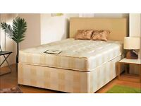 "NEW KING SIZE DIVAN BED WITH 9"" SEMI ORTHO DEEP QUILT MATTRESS. SAME DAY FREE LONDON DELIVERY"