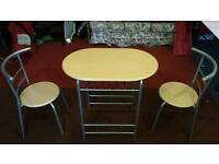 Small breakfast space saver table 2 chairs