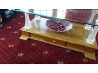 coffee table ornate Italian marble effect and glass top