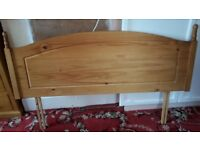 Double antique pine headboard