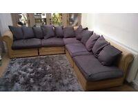Rattan modular corner sofa with customer made cushion set for sale