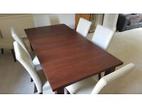 Extendable walnut dining room table & 8 cream chairs