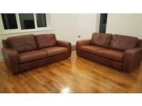 Leather sofas - pair