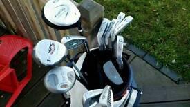Full set of mens golf clubs, trolley etc £