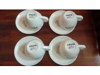 4 New Medium Size 300ml Costa Coffee Cup and Saucer with Bean logo