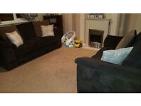 3 and 2 brown cord sofas