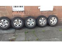 "5 x 15"" 5 hole Honda CRV Steel Wheels with part worn tyres"