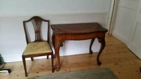 Antique Writing Table / Card Table and Chair