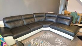 Black and white leather corner suite dfs