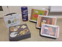 Kitchen tins - Jamie Oliver cake tins, cheese tin and Cadbury tin