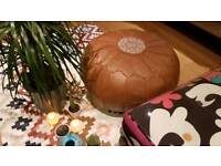 Moroccan leather pouffe 100% lamb soft leather