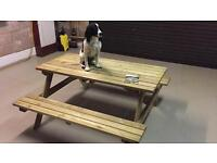 Picnic Bench. Solid Construction by Rowlinson . New 5' x 5' Brand New