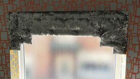 "CRUSHED FABRIC WINDOW PELMET IN GREY / SILVER – 47"" WIDE"