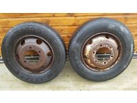 2 x lorry wheels and tyres