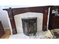 white tiled fireplace