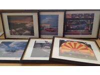 A Set of 6 limited edition framed photographs of classic BMW cars.