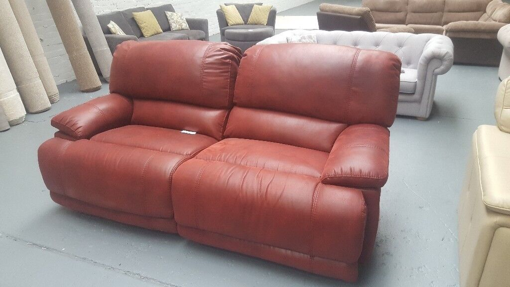 2 and a 3 red suede sofa manual recliner | in Great Sankey, Cheshire ...