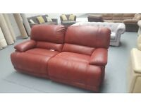 2 and a 3 red suede sofa manual recliner