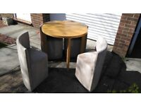 ROUND TABLE (KITCHEN-DINNER?) WITH FOUR (SEGMENT) CHAIRS