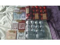 Brand new xmas cards and baubles