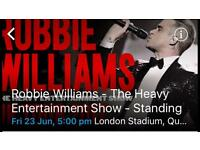 4 standing tickets for Robbie Williams on Friday 23rd June at London stadium