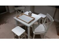 ikea white wood dining table and chairs