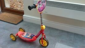 Disney Cars 3 wheel scooter - never used outside, with original box