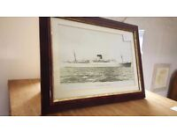Vintage Framed Picture Of Ship Edinburgh Castle