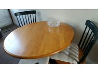 Circular table and 3 chairs