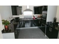 Solid Granite Full U-shaped Kitchen Worktop - black marbled - perfect condition